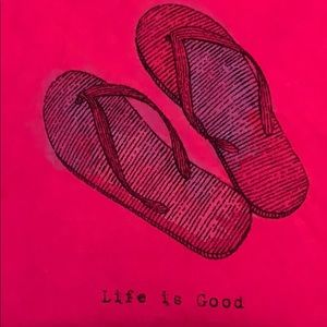 Life Is Good Tops - Life is Good flip flop T-shirt pink XL